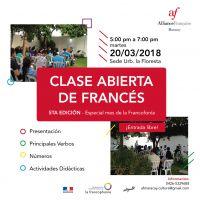 CLASE ABIERTA DE FRANCÉS 20/03/2018 ENTRADA LIBRE